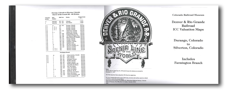 ICC Map Set No. 04 - D&RG Durango, CO to Silverton, CO