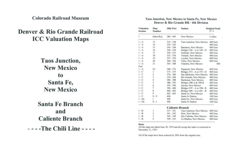 ICC Map Set No. 07 - D&RG Taos Junction, NM to Santa Fe, NM