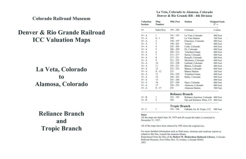 ICC Map Set No. 08 - D&RG La Veta, CO to Alamosa, CO