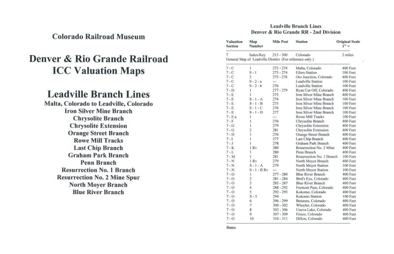 ICC Map Set No. 14 - D&RG Leadville Branch Lines