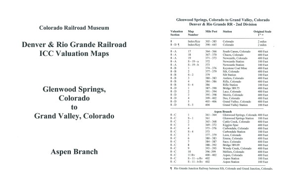 ICC Map Set No. 16 - D&RG Glenwood Springs to Grand Valley