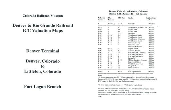 ICC Map Set No. 26 - D&RG Denver, CO to Littleton, CO+