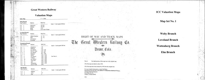 ICC Map Set No. 44 - GW Welty, Loveland, Wattenberg & Elm